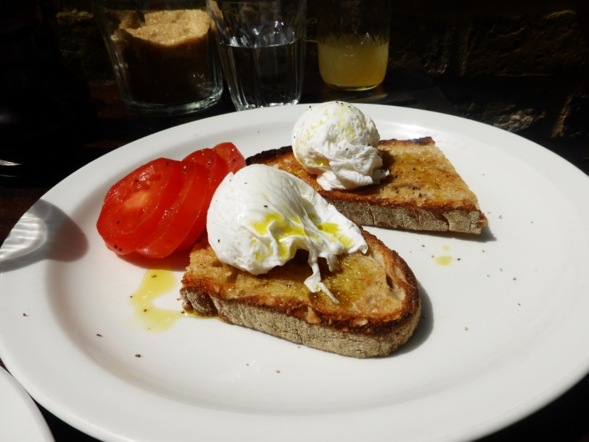 Poached eggs with sourdough toast, £6.00. A little steep, but that's what you get for being boring and not getting the pancakes.