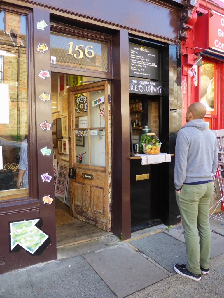 Columbia Road is also home to the world's smallest juice bar...