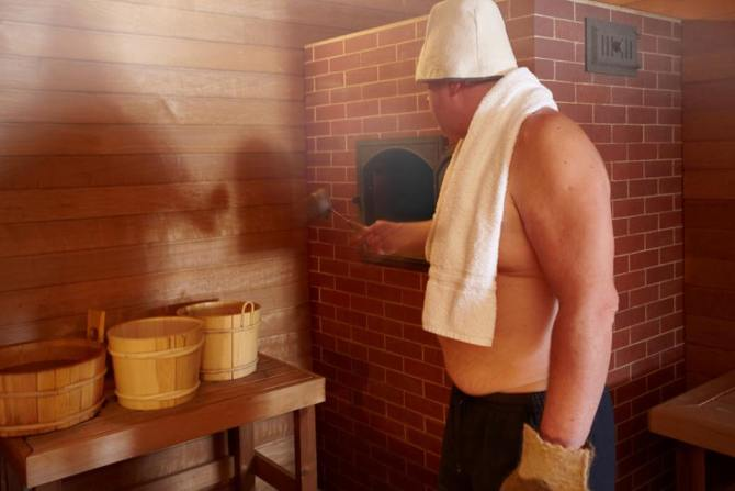 The high humidity in a traditional banya is created by splashing water on to a tonne of cast iron heated to 700°C (!)