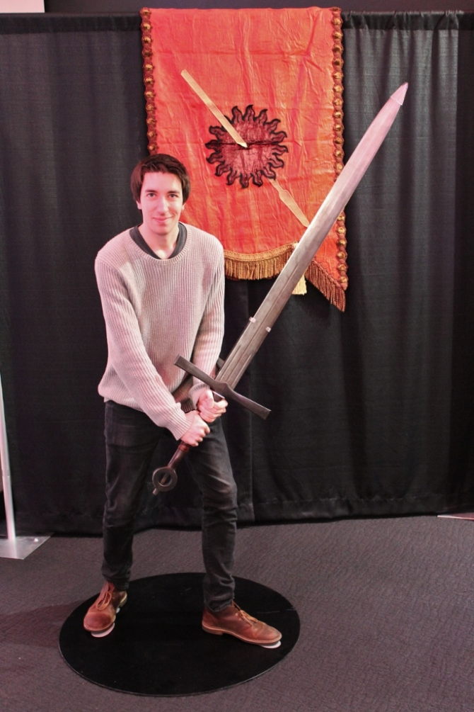 "James 1, 6' 1"", with the Mountain's sword. :
