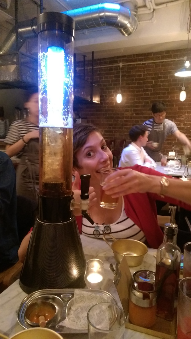 That's £9.80 for a LITRE of light, sparkly Korean beer.