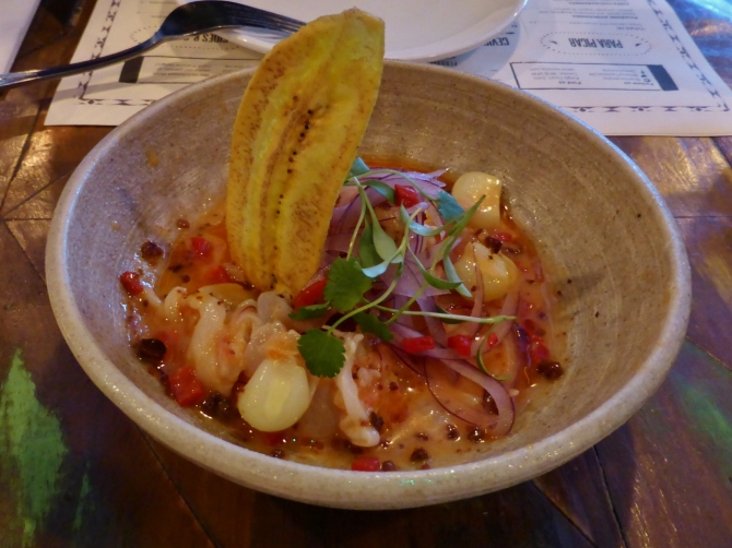 The Spaniard - sea bream and king prawn ceviche with tomato tiger's milk, red onion, coriander, plantain and crispy chorizo (£9.00)