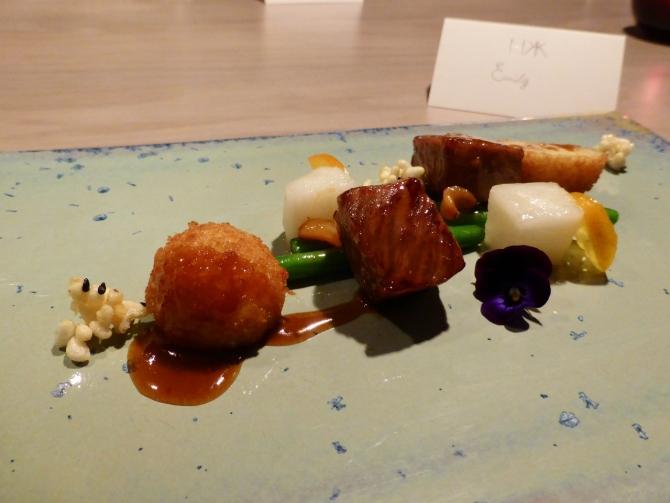 Hakkasan HKK restaurant review tasting menu wagyu beef
